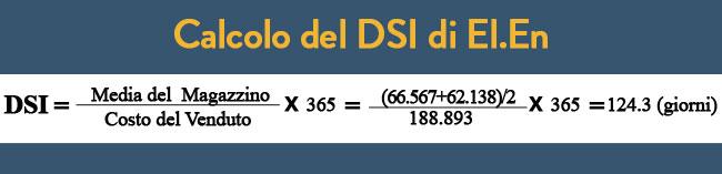 Calcolo del DSI della società El.En, days sales of inventory (giorni di vendita delle scorte).